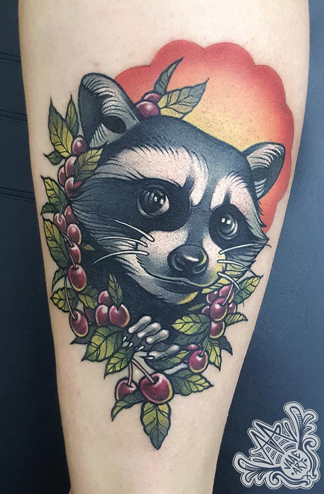 mapache-cereza-raccon-cherries