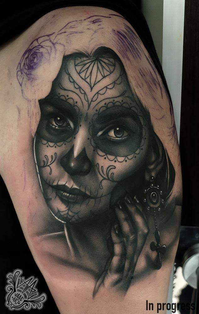 progress-tattooinprogress-catrina-tattoo-mexicangirl-mexicancatrina-
